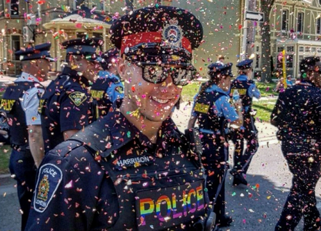 Male Office at Gay Pride Parade in Confetti Cloud